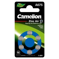 Blister de 6 piles Auditives A675 ZL675 0%Mercure Camelion